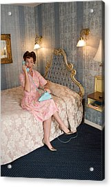 Old-fashioned Woman On Bed Talking Acrylic Print by Gillham Studios