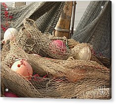 Old Fishing Nets With Floats Acrylic Print by Yali Shi