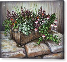 Acrylic Print featuring the painting Old Flower Box by Kim Lockman