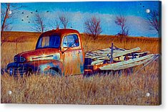Old Ford F5 Truck Abandoned In Field Acrylic Print