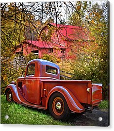 Old Ford Pickup Truck At The Barn Acrylic Print