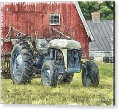 Old Ford Tractor Colored Pencil Acrylic Print