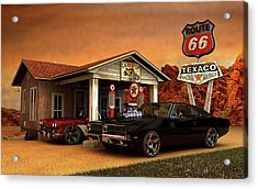 Acrylic Print featuring the photograph Old Gas Station American Muscle by Louis Ferreira