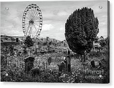 Old Glenarm Cemetery And Big Wheel Bw Acrylic Print by RicardMN Photography