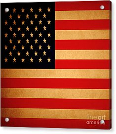 Old Glory . Square Acrylic Print by Wingsdomain Art and Photography