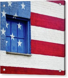 Acrylic Print featuring the photograph Old Glory, American Flag Mural, Street Art by Robert Bellomy