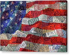 Old Glory In Recycled Vintage License Plates Acrylic Print