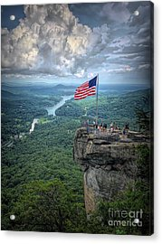 Old Glory On The Rock Acrylic Print