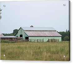 Old Green Barn    Washington State Acrylic Print by Laurie Kidd