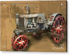 Old Grey Tractor Acrylic Print