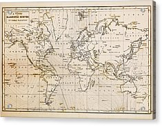 Old Hand Drawn Vintage World Map Acrylic Print by Richard Thomas