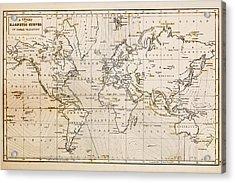 Old Hand Drawn Vintage World Map Acrylic Print by Richard Thomas