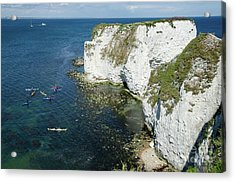 Old Harry Rocks Sea Kayak Tour Visiting The White Jurassic Cliffs On The Dorset Coast England Uk Acrylic Print by Andy Smy