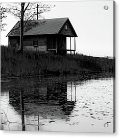 Acrylic Print featuring the photograph Old Homestead Reflections - Black And White by Gregory Ballos