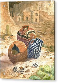 Acrylic Print featuring the painting Old Indian Pottery by Marilyn Smith