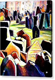 Old Jewish Cemetary In Prague Acrylic Print by Miki  Sion