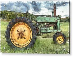 Old John Deere Tractor Pencil Acrylic Print by Edward Fielding