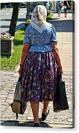 Acrylic Print featuring the photograph Old Lady Off To Work by Mariola Bitner