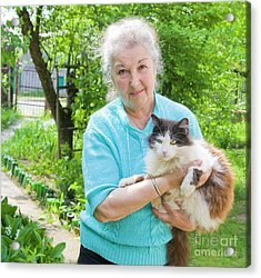 Old Lady With Cat Acrylic Print by Irina Afonskaya