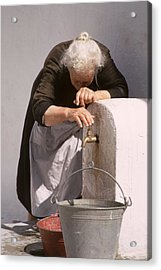 Old Lady With Water Pail Acrylic Print by Carl Purcell