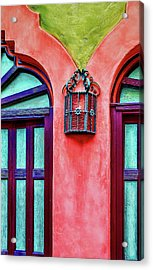 Acrylic Print featuring the photograph Old Lamp Between Windows by Gary Slawsky