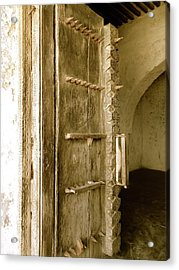 Old Lamu Town - Carved Old Door With Spikes Acrylic Print