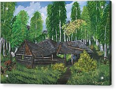Acrylic Print featuring the painting Old Log Cabin And   Memories by Sharon Duguay