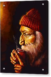 Old Man And Tea Acrylic Print by Patricia C Bernhard