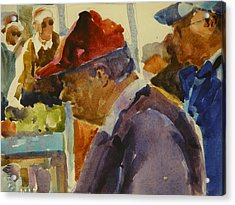 Old Man At The Market Acrylic Print by Walt Maes