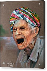 Acrylic Print featuring the painting Old Man by Chonkhet Phanwichien