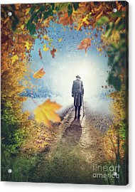 Old Man Going Alone  Acrylic Print by Elena Schweitzer
