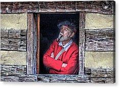 Old Man In Window Acrylic Print by Randy Steele