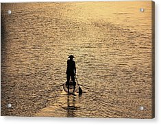 Old Man Paddling Into The Sunset Acrylic Print