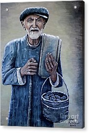Old Man With His Stones Acrylic Print by Judy Kirouac