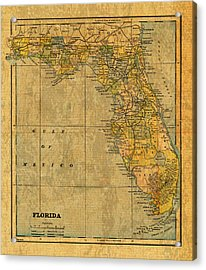 Old Map Of Florida Vintage Circa 1893 On Worn Distressed Parchment Acrylic Print by Design Turnpike