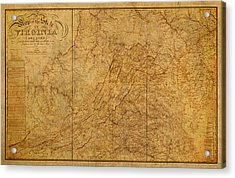 Old Map Of Virginia State Schematic Circa 1859 On Worn Distressed Parchment Acrylic Print by Design Turnpike