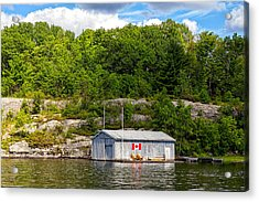 Old Metal Boathouse With Wooden Chairs Acrylic Print