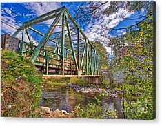 Acrylic Print featuring the photograph Old Metal Truss Bridge Newport New Hampshire by Edward Fielding