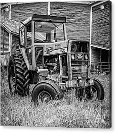 Old Mf Tractor Square Acrylic Print by Edward Fielding