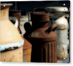 Old Milk Cans Acrylic Print by Danielle Miller