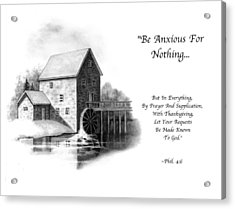 Old Mill In Pencil With Bible Verse Acrylic Print by Joyce Geleynse