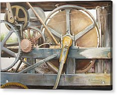 Acrylic Print featuring the painting Old Mine Engine by Oz Freedgood