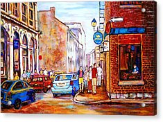 Old Montreal Paintings Calvet House And Restaurants Acrylic Print by Carole Spandau