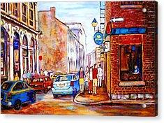 Old Montreal Paintings Calvet House And Restaurants Acrylic Print by Carole Spandau