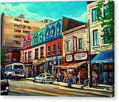 Old Montreal Schwartzs Deli Plateau Montreal City Scenes Acrylic Print by Carole Spandau