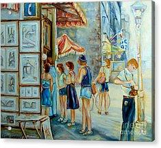 Old Montreal Street Scene Acrylic Print by Carole Spandau