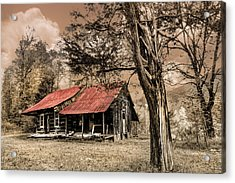 Old Mountain Cabin Acrylic Print by Debra and Dave Vanderlaan