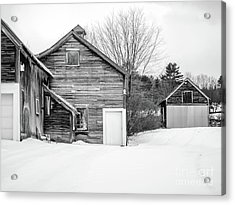Acrylic Print featuring the photograph Old New England Barns In Winter by Edward Fielding