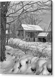 Old New England Winter 2016 Bw Acrylic Print