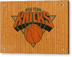 Old New York Knicks Basketball Gym Floor Acrylic Print by Design Turnpike